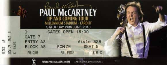 Ticket for Paul McCartney's concert in Cardiff, 26 June 2010