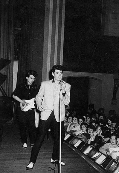 George Harrison on stage with Johnny Gentle, 20 May 1960