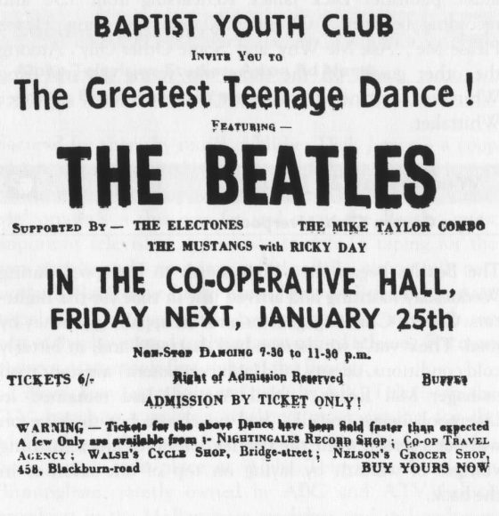 Advertisement for The Beatles at Co-operative Hall, Darwen, 25 January 1963