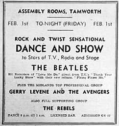 Advert for The Beatles at Assembly Rooms, Tamworth, 1 February 1963