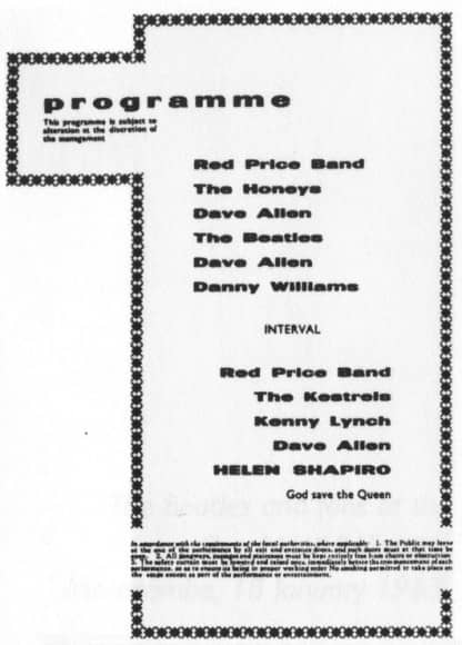 Programme from The Beatles' concert in Bradford, 2 February 1963