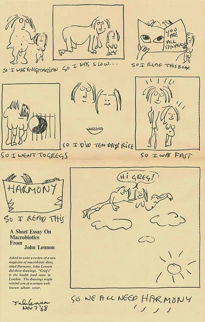 john lennon writes a short essay on macrobiotics  yoko