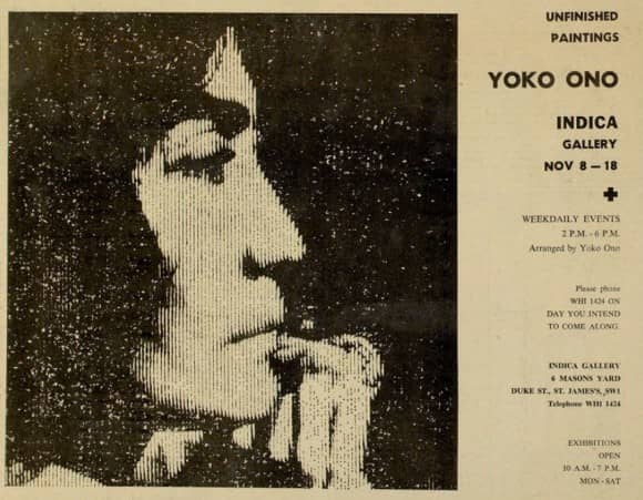 Advertisement for Yoko Ono's exhibition Unfinished Paintings, 1966