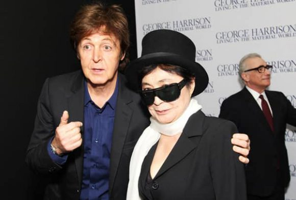 Paul McCartney and Yoko Ono at the premiere of George Harrison: Living In The Material World, 2 October 2011