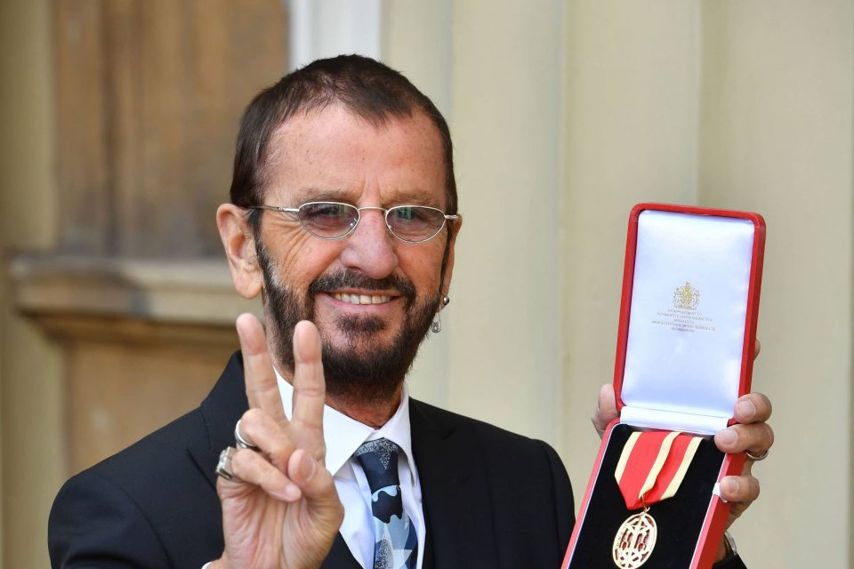 Ringo Starr with his knighthood at Buckingham Palace, 20 March 2018