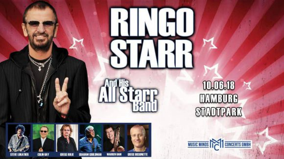 Poster for Ringo Starr live in Hamburg, Germany, 10 June 2018 (postponed to 11 June)