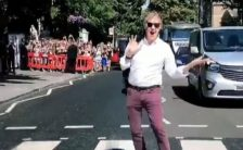 Paul McCartney on the Abbey Road zebra crossing, 23 July 2018