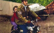 John and Julian Lennon on a Honda Monkey Bike, 1971