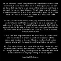 Paul McCartney's statement supporting Black Lives Matter, 5 June 2020