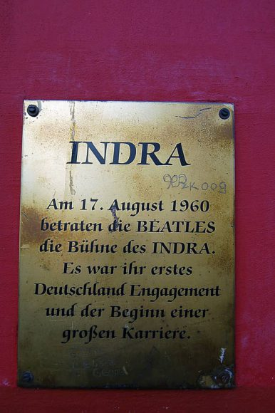 Plaque outside the Indra Club, Hamburg, 2011