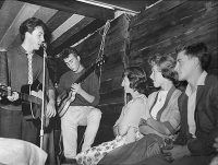 John Lennon and Paul McCartney performing at the Casbah Coffee Club, Liverpool