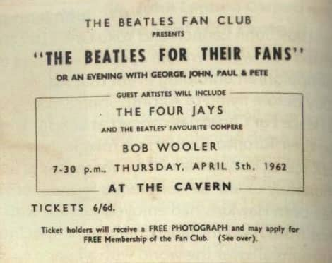 Flyer for The Beatles at the Cavern Club, Liverpool, 5 April 1962
