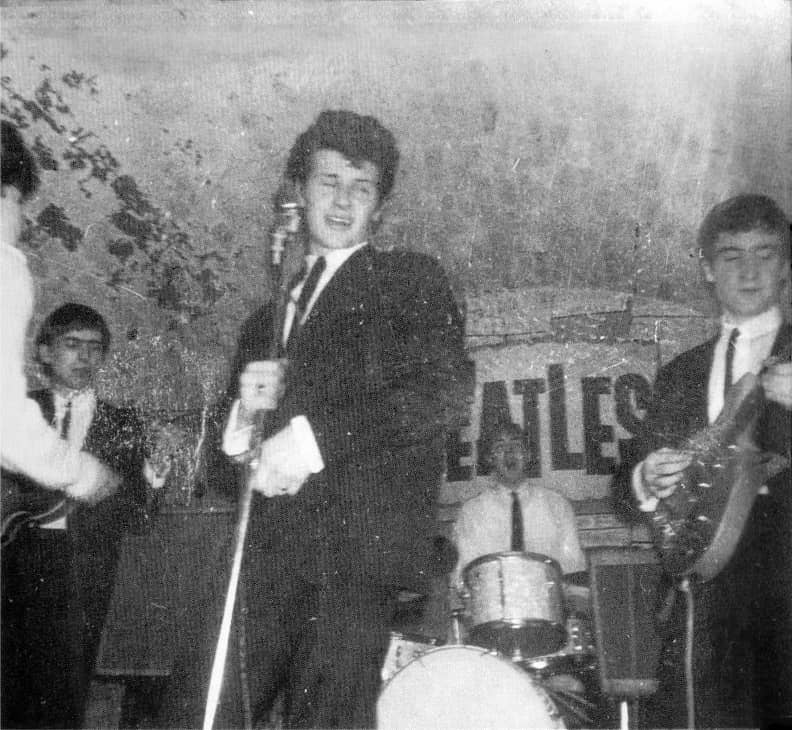 Pete Best singing with The Beatles at the Cavern Club, Liverpool, 5 April 1962