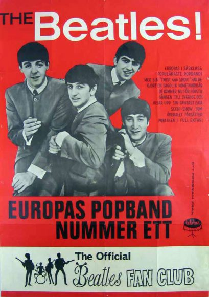 The Beatles' Swedish fan club poster, 1963