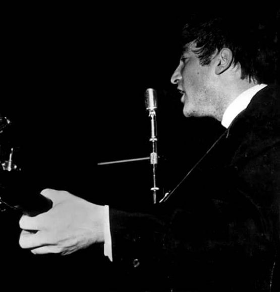 John Lennon onstage at Grafton Rooms, Liverpool, 10 January 1963