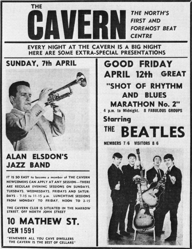 Poster for The Beatles' penultimate show at the Cavern Club, Liverpool, 12 April 1963