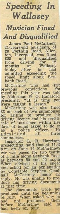 Newspaper report on Paul McCartney's driving ban, 26 August 1963