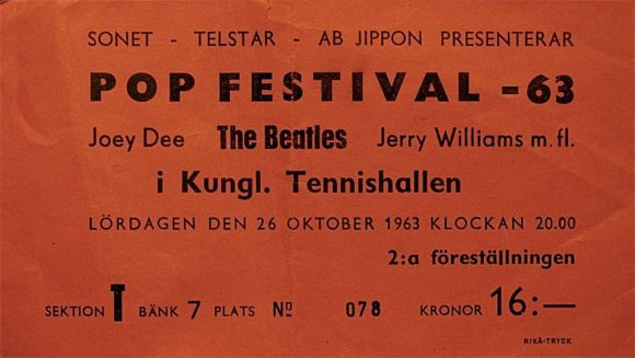 Ticket for The Beatles at Kungliga Tennishallen, Stockholm, Sweden, 26 October 1963