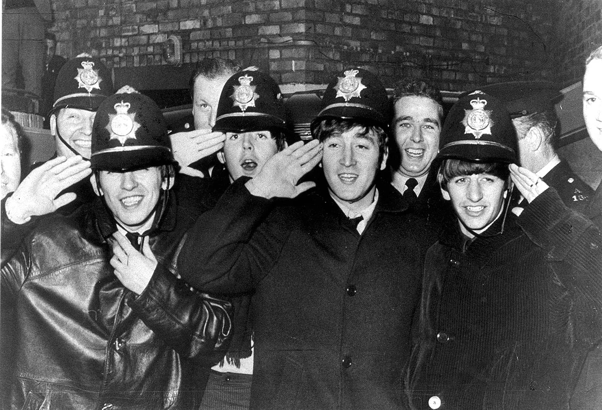 Beatles With West Midlands Police Officers The Beatles