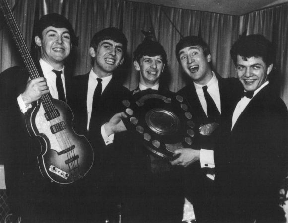 The Beatles with Mersey Beat founder Bill Harry, 1963