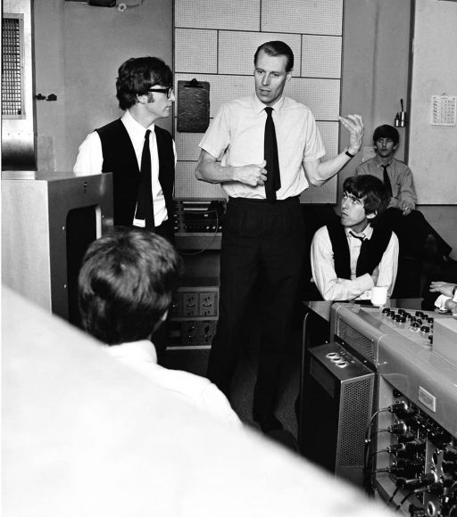 The Beatles and George Martin during the recording of A Hard Day's Night, 1964