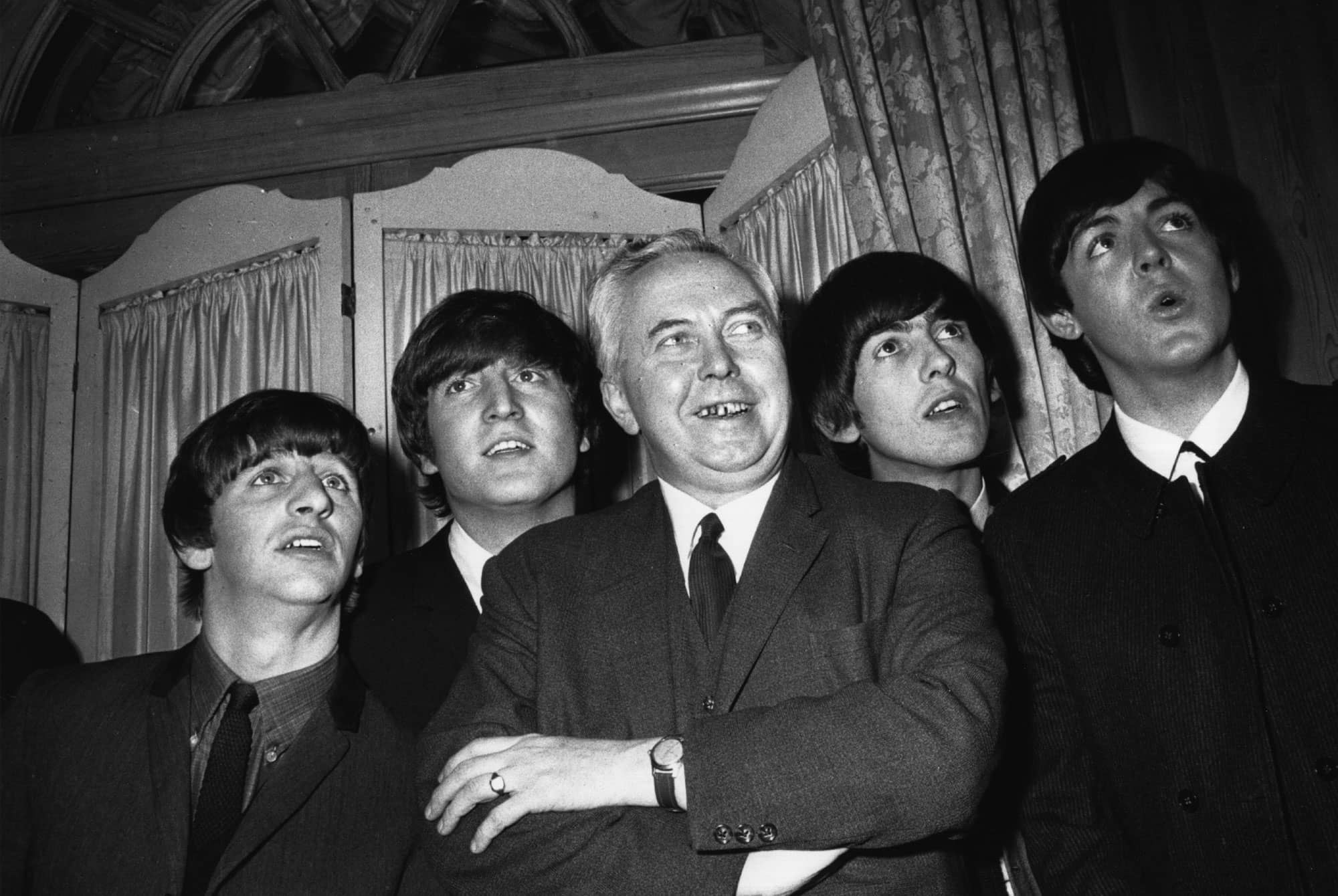 The Beatles with UK prime minister Harold Wilson, 19 March 1964