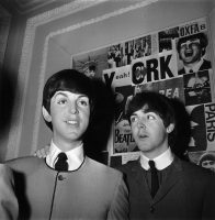 Paul McCartney with his Madame Tussaud's waxwork figure, 29 April 1964