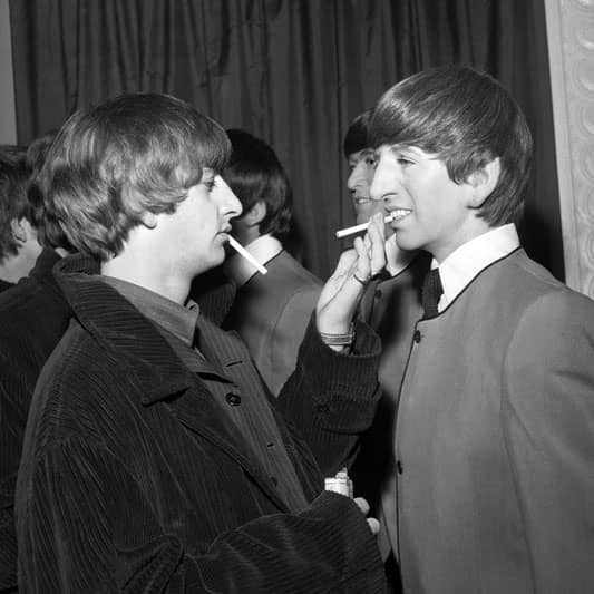 Ringo Starr with his Madame Tussaud's waxwork figure, 29 April 1964