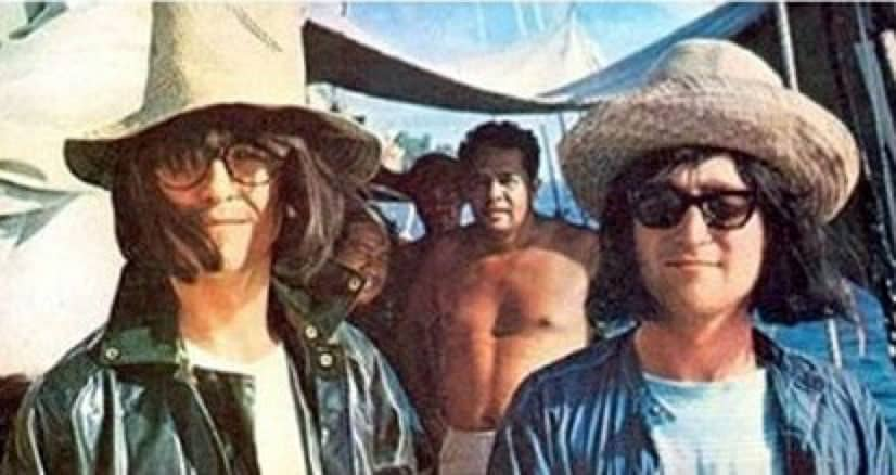 George Harrison and John Lennon disguised in Tahiti, May 1964