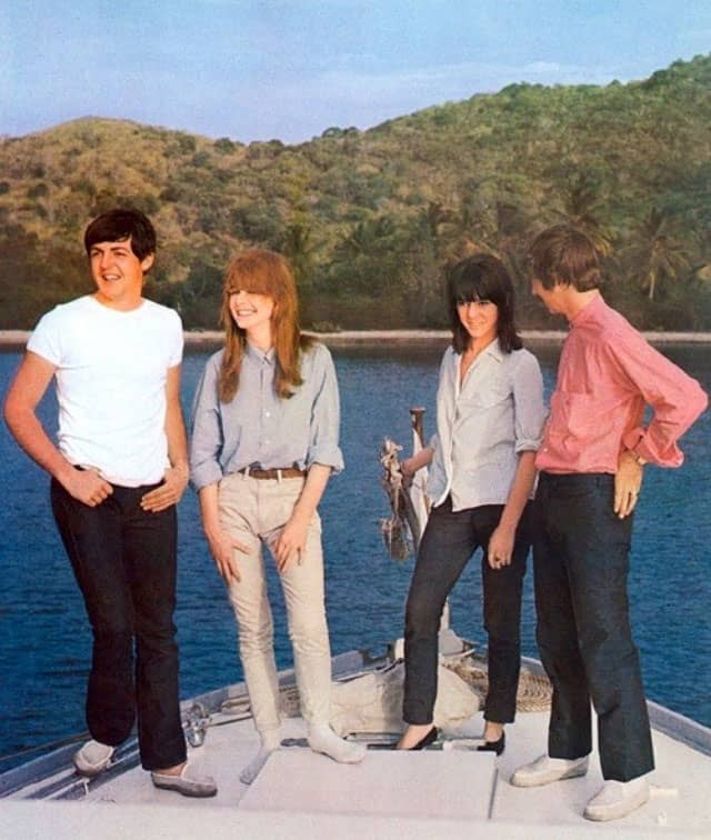 Paul McCartney, Jane Asher, Maureen Starkey and Ringo Starr in the Virgin Islands, May 1964