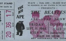 Ticket for The Beatles in Jacksonville, Florida, 11 September 1964