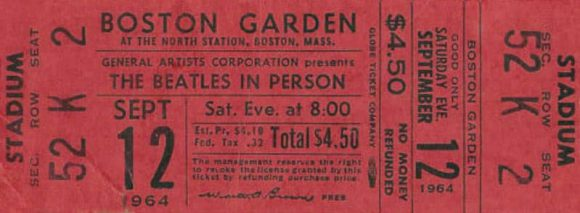 Ticket for The Beatles at the Boston Garden, Boston, 12 September 1964