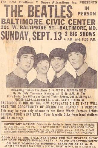 Advertisement for The Beatles in Baltimore, 13 September 1964