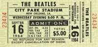Ticket for The Beatles in New Orleans, 16 September 1964