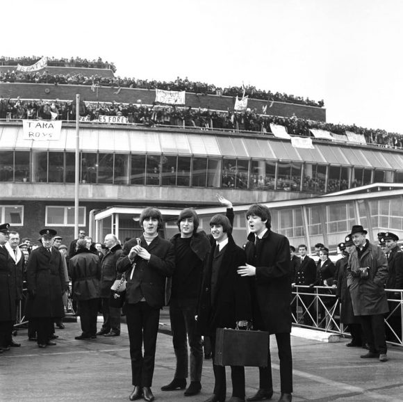The Beatles leave London Airport to film Help! in the Bahamas, 22 February 1965