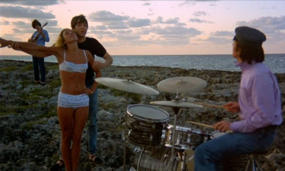 The Beatles film the Another Girl sequence in Help! on Balmoral Island, Bahamas, 27 February 1965
