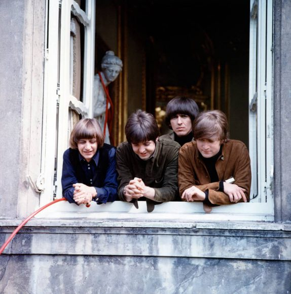 The Beatles filming Help! at Cliveden House, May 1965