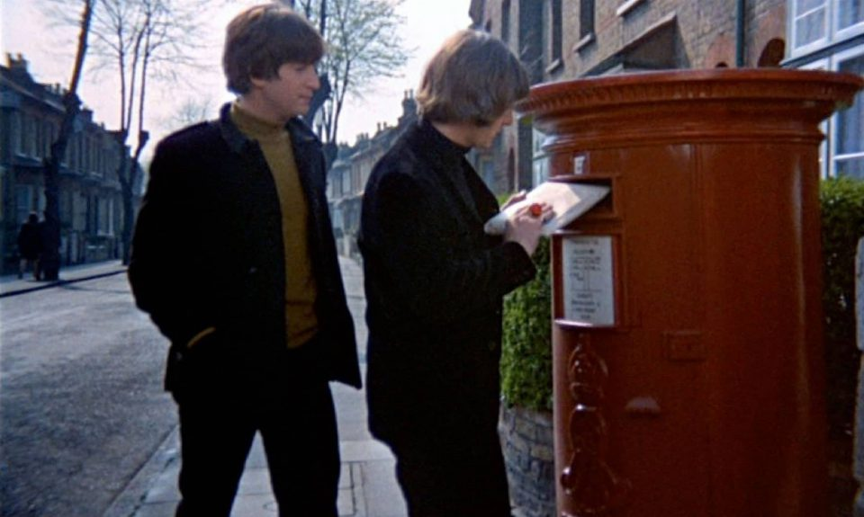 John Lennon and Ringo Starr film the postbox scene in Help!, London, 9 May 1965