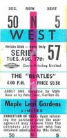 Ticket for The Beatles at the Maple Leaf Gardens, Toronto, Canada, 17 August 1965