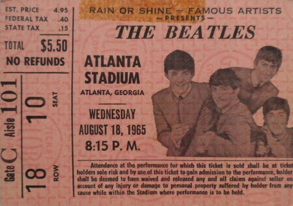 Ticket for The Beatles live at the Atlanta Stadium, Atlanta, Georgia, 18 August 1965