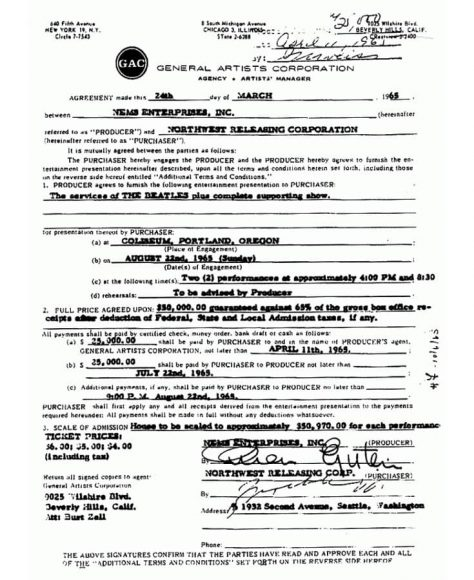 The Beatles' contract for performances at Portland Coliseum, 22 August 1965 - part one