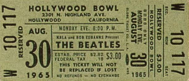 Ticket for The Beatles at the Hollywood Bowl, 30 August 1965
