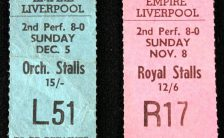 Tickets for The Beatles at the Empire Theatre, Liverpool, 5 December 1965
