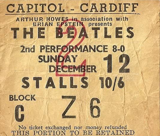 Ticket for The Beatles at Capitol Cinema, Cardiff, 12 December 1965