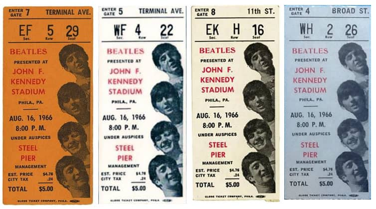 Tickets for The Beatles at the JFK Stadium, Philadelphia, 16 August 1966