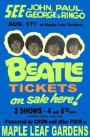 Poster for The Beatles at the Maple Leaf Gardens, Toronto, Canada, 17 August 1966