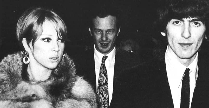George and Pattie Harrison with Brian Epstein, 1966