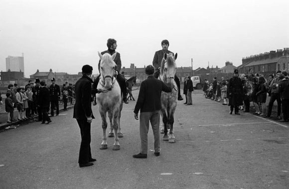 John Lennon and Paul McCartney on horseback filming the Penny Lane promo, 5 February 1967
