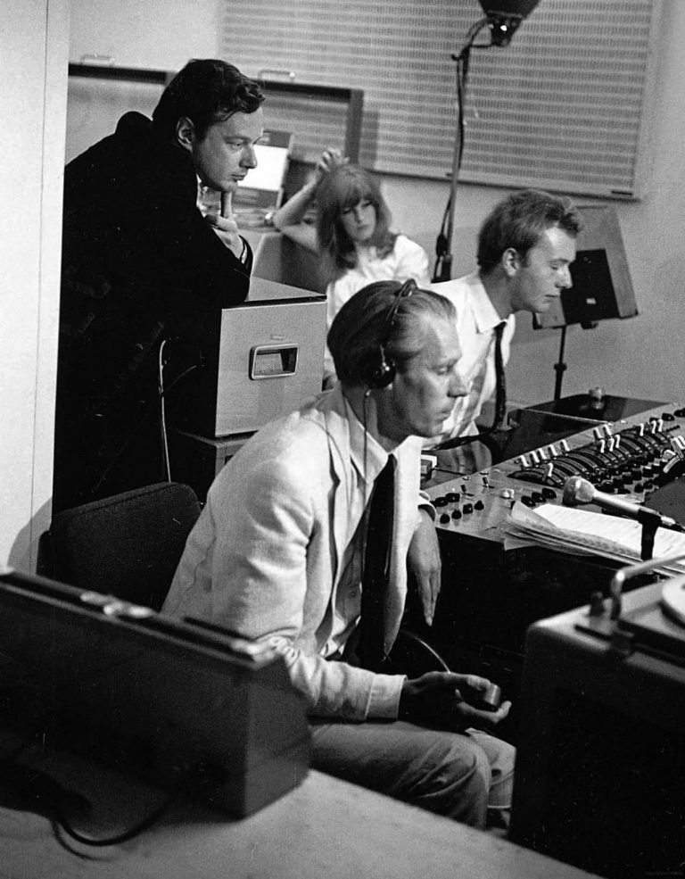 Brian Epstein, George Martin and Geoff Emerick at the worldwide satellite broadcast of All You Need Is Love (Our World), 25 June 1967