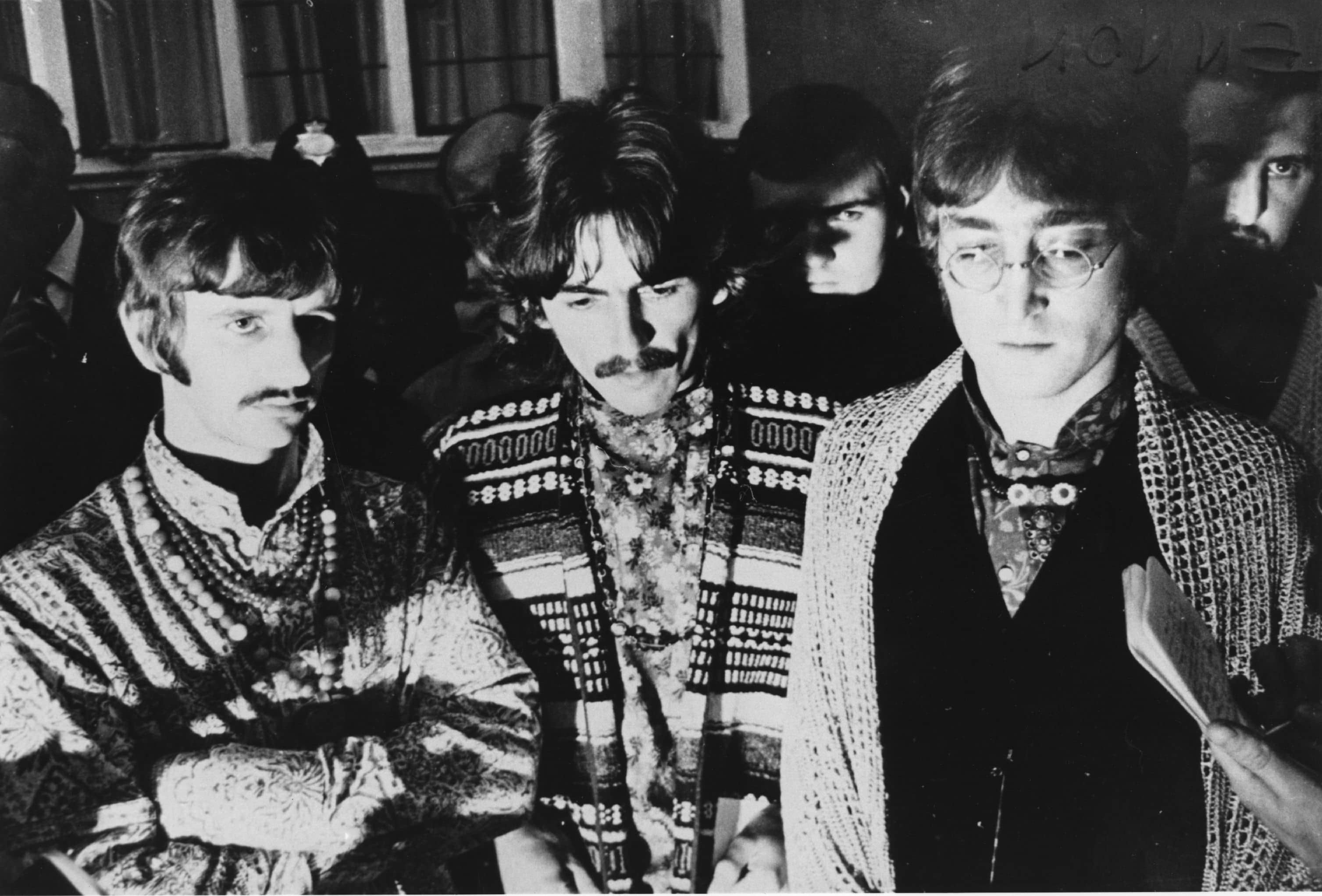 Ringo Starr, George Harrison and John Lennon in Bangor, north Wales, August 1967